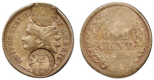 Costa Rica Countermarked Indian Cent