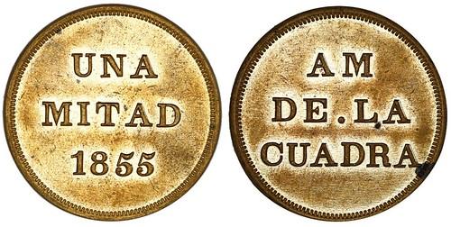 1855 Colombia Una Mitad Token