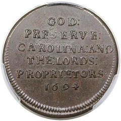 1694 Carolina Elephant Token reverse