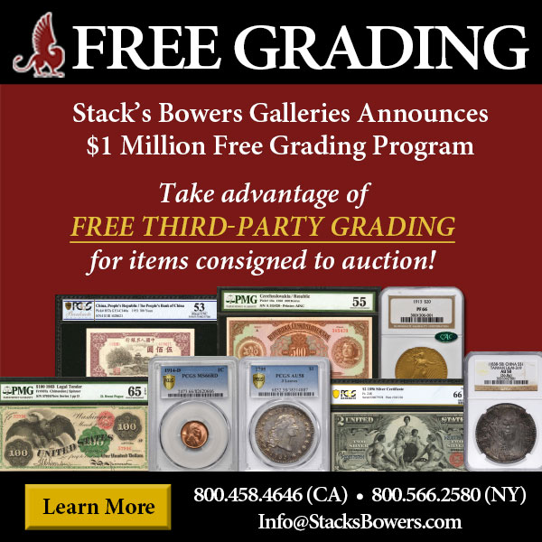Stacks-Bowers E-Sylum ad 2020-05-03 Free Grading