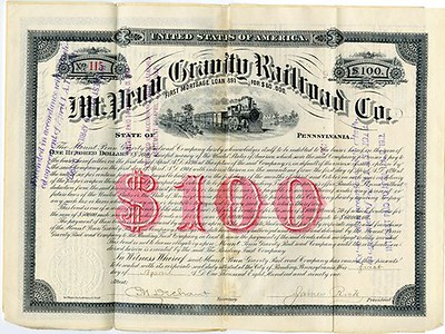 1891 Mt. Penn Gravity Railroad Co. Bond