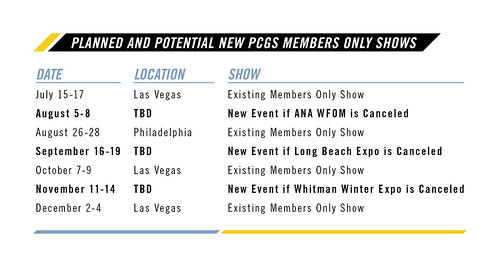2020 PCGS Members Only Show Schedule