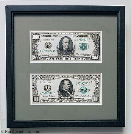 Boggs framed $500 and $1000 front