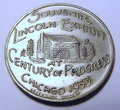 1933 Lincoln Exhibit Medal reverse