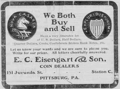 Eisengart coin ad Philatellic West