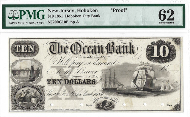 Mislabeled slabbed New Jersey Ocean Bank note