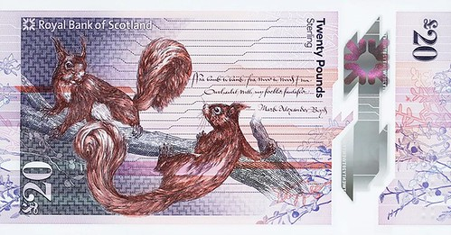 Bank of Scotland 20 Pound banknote squrrels
