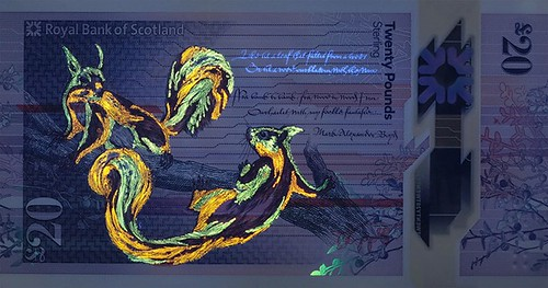 Bank of Scotland 20 Pound banknote squrrels under UV light