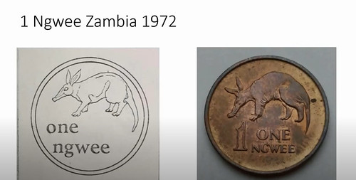 Secret Coin Designs 1972 Zambia 1 Ngwee
