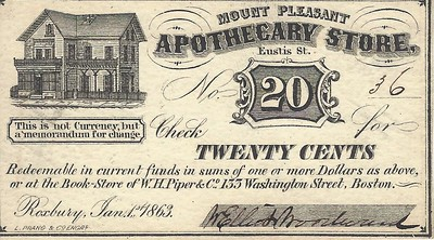 Woodward Apothecary Store 20c scrip signed