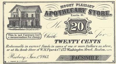 Woodward Apothecary Store 20c scrip FACSIMILE