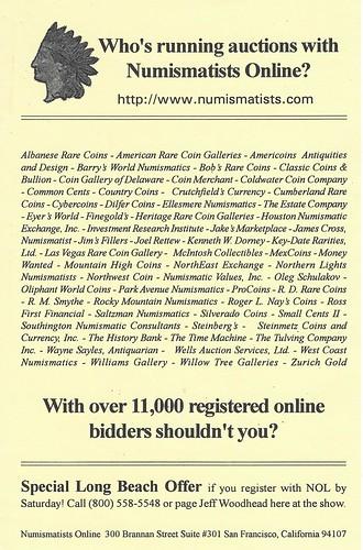 Numismatists Online flyer