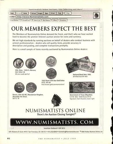 Numismatists Online ad Numismatist 1999 July