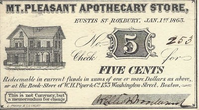 Woodward Apothecary Store 5c scrip signed