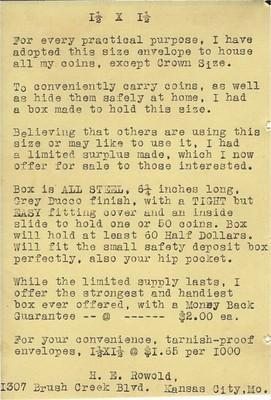 ROWOLD, H.E., circular for coin envelopes