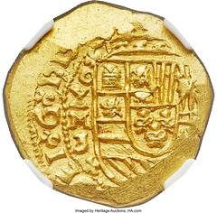 Philip V gold Cob 4 Escudos 1713 MXo-J MS63 NGC_Heritage_Auctions_1