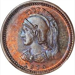 1870 Anticosti Island 1-8th Penny Token obverse