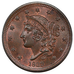 1839 Silly Head Cent obverse
