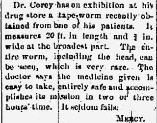 Corey, worm, The Fredonia Censor, 2-13-1884