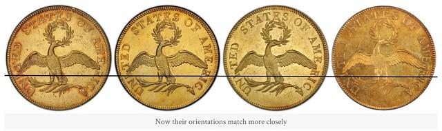 four 1796 $10 Eagle reverses after orientation