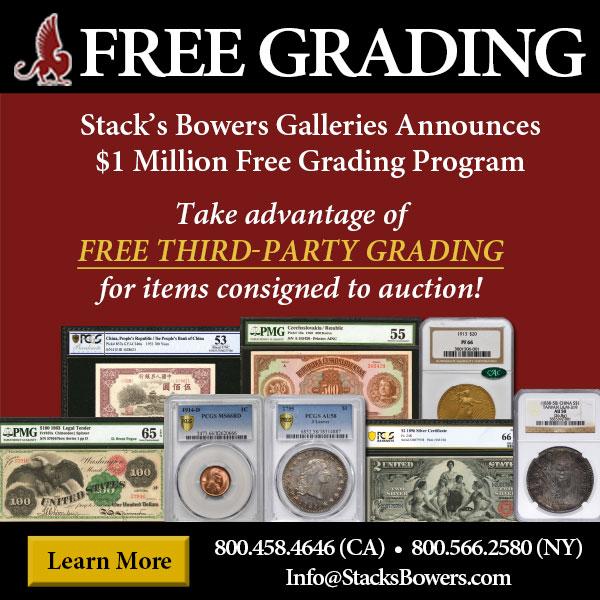 Stacks-Bowers E-Sylum ad 2020-06-21 Free Grading