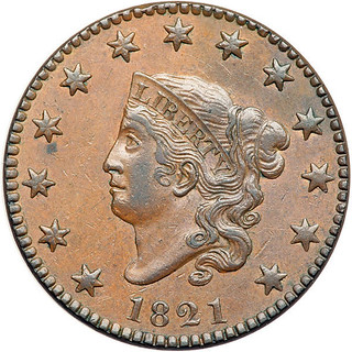 1821 Large Cent obverse Golden Biscuit color