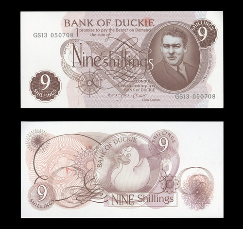 Bank of Duckie Nine Shilling note