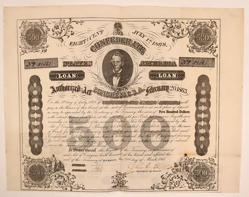 1863 Confederate $500 Bond