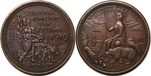 1910 San Francisco  Admission Day Festival Medal
