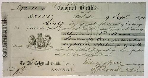 1871 Barbados Colonial Bank Note