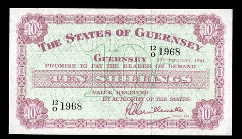 1961 Guernsey Ten Shilling note