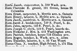 Horn, Clarence E,  1879 Polk's Albany Dir.