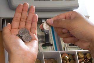 coins at cash register