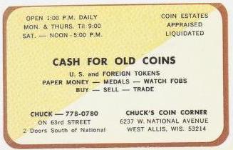 Chucks Coin Corner.busienss card