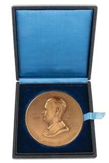 Howard Hughes Congressional Gold Medal in box