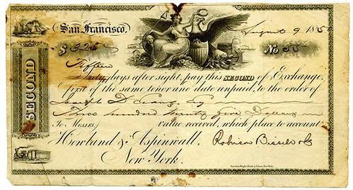 1850 California Gold Rush Era Bill of Exchange