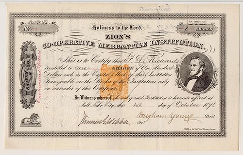 Zion's Co-operative Mercantile Institution Certificate
