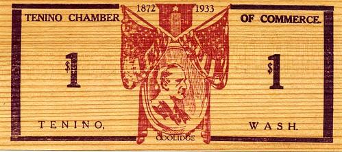 Tenino wooden dollar back