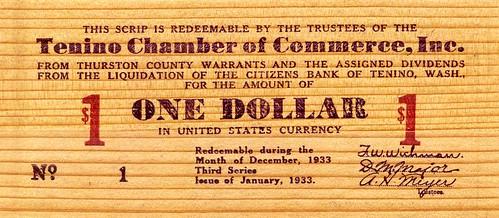 Tenino wooden dollar front