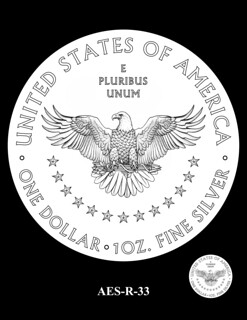 AES-R-33 -- American Eagle Proof and Bullion Silver Coin - Reverse