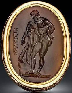 oval hardstone intaglio gem
