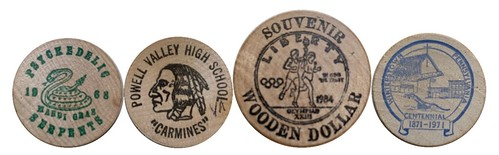 Four wooden nickels