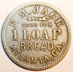 M.JAck Loaf Bread token 4 and one sixth cent token reverse