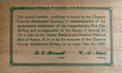 Cheshire County Numismatic Society Pine Tree SAhilling wooden souvenir back