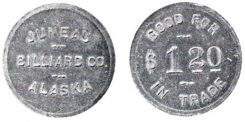Juneau Billiard Co. $1.20 token