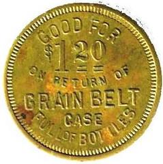 John Wroblewski $1.20 token Case Bottles reverse