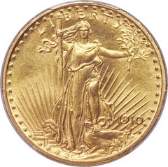 1910 Experimental Finish Saint-Gaudens Double Eagle obverse