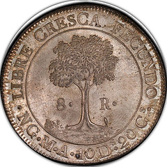 1842 over 0 AMA Central American Republic 8 Reales reverse