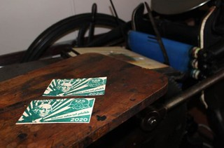 2020 Tenino wooden scrip and printing press