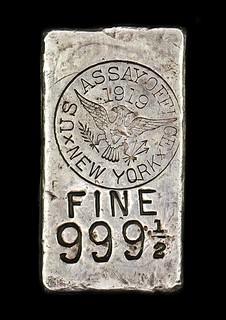 1919 New York  Assay Office Silver Ingot
